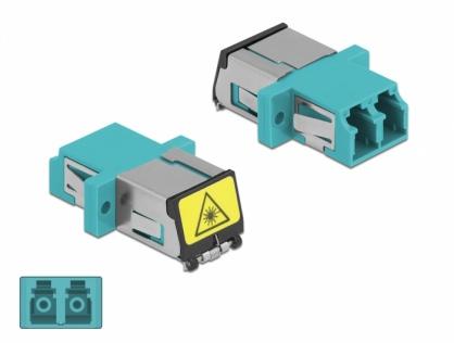 Cupla fibra optica cu protectie laser LC Duplex Multi-mode OM3 M-M Aqua, Delock 86900