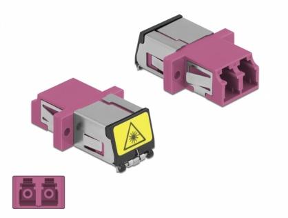 Cupla fibra optica cu protectie laser LC Duplex Multi-mode OM4 M-M Violet, Delock 86901