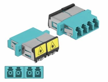 Cupla fibra optica cu protectie laser LC Quad Multi-mode OM3 M-M Aqua, Delock 86905