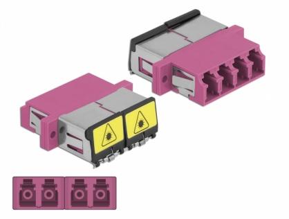 Cupla fibra optica cu protectie laser LC Quad Multi-mode OM4 M-M Violet, Delock 86906