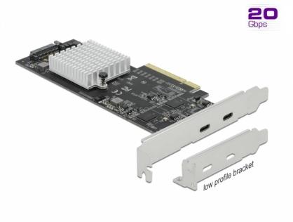 PCI Express cu 2 porturi externe SuperSpeed USB 20 Gbps (USB 3.2 Gen 2x2)-C LPFF, Delock 89009