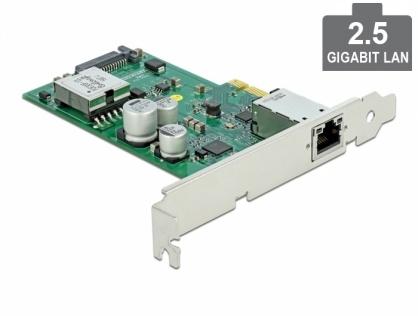 Placa PCI Express cu 1 x 2.5 Gigabit LAN PoE+ LPFF, Delock 89019