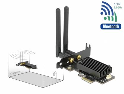 PCI Express Dual band Wi-Fi 6 WLAN ax/ac/a/b/g/n 2400 Mbps + Bluetooth 5.1, Delock 89049