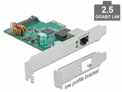 PCI Express x1 la 1 x RJ45 2.5 Gigabit LAN PoE+ RTL8125, Delock 89139