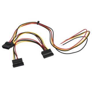 Cablu de alimentare Molex 4 pini + 2 x SATA 15 pini la fire deschise, AK-SC-24
