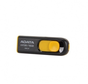 Stick USB 3.1 16GB UV128 retractabil Negru/Galben, ADATA AUV128-16G-RBY
