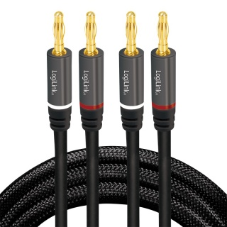 Cablu boxe 2 x 2 banana T-T 5m Negru, Logilink CA1211