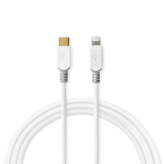 Cablu USB 2.0 type C la Lightning T-T 3m Alb, Nedis CCBP39650WT30