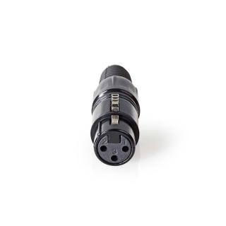 Conector de lipit metalic XLR 3 pini mama, Nedis COTP15902BK