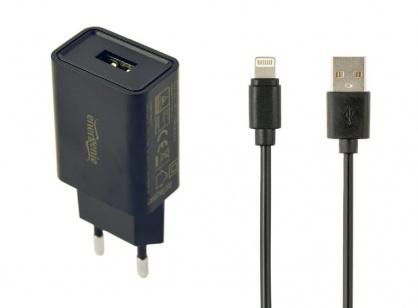 Incarcator priza 1 x USB-A 5V / 2.1A + cablu USB Lightning, Gembird EG-UCSET-8P-MX-black