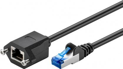Cablu prelungitor RJ 45 CAT 6A S/FTP (PiMF) 2m Negru, Goobay 77578