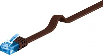 Cablu de retea RJ45 CAT 6A flat UTP 0.5m Maro inchis, Goobay 96304