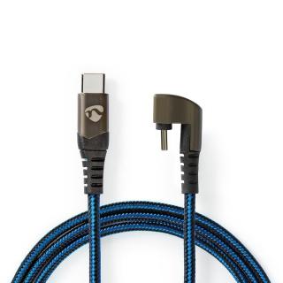 Cablu USB 2.0-C la USB-C unghi 180 grade 1m, Nedis GCTB60700BK10