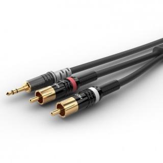 Cablu audio jack stereo 3.5mm la 2 x RCA T-T 0.9m, HBP-3SC2-0090