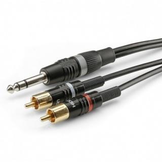 Cablu audio jack stereo 6.35mm la 2 x RCA T-T 6m, HBP-6SC2-0600