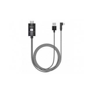 Cablu video iPhone Lightning la HDMI cu alimentare USB, Devia T1