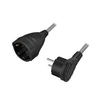 Cablu prelungitor alimentare Schuko T-M textil 3m, Logilink LPS104