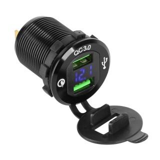 Mufa pentru montaj auto 2 x USB Quick Charge, PY-CHR0004