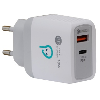 Incarcator priza USB-A + USB-C Quick Charge 3.0 18W, Spacer SPAR-DUOQ-01