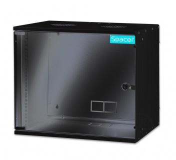 """Cabinet 19"""" 9U montare perete 448x515x400mm, Spacer SPCW-9U-BK"""