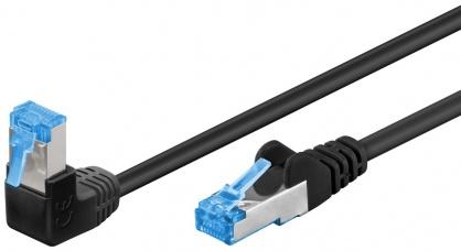 Cablu de retea cat 6A SFTP LSOH cu 1 unghi 90 grade 3m Negru, Goobay G51559