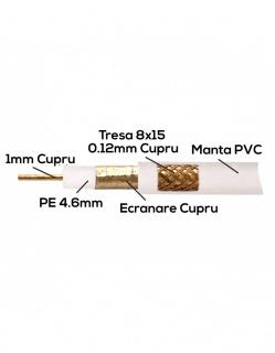 Rola 100m cablu coaxial 75 ohm RG6 Cu + tresa Cu, CG086166