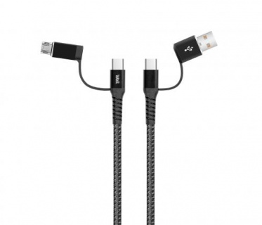 Cablu de incarcare si date 4 in 1 USB 2.0 Negru 1m, CABLE-USBC/USBC/U-1GY02-WL