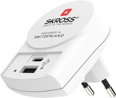 Incarcator priza 1 x USB-A + 1 x USB-C, Skross PSUP-USB-W254WE-SKRS